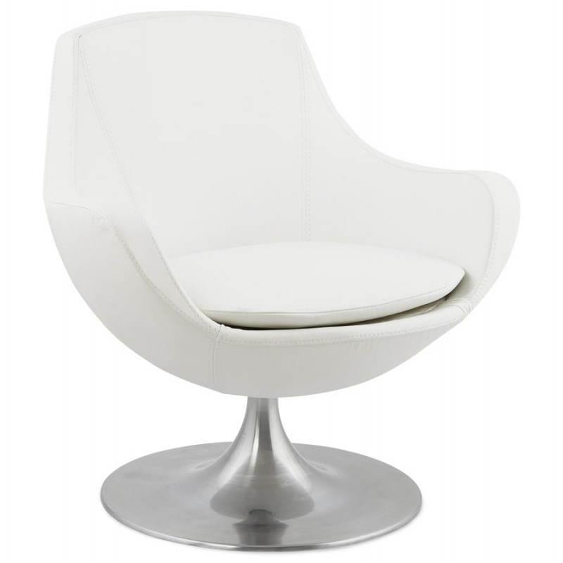 Fauteuil design rotatif à 360° ROMANE (blanc)