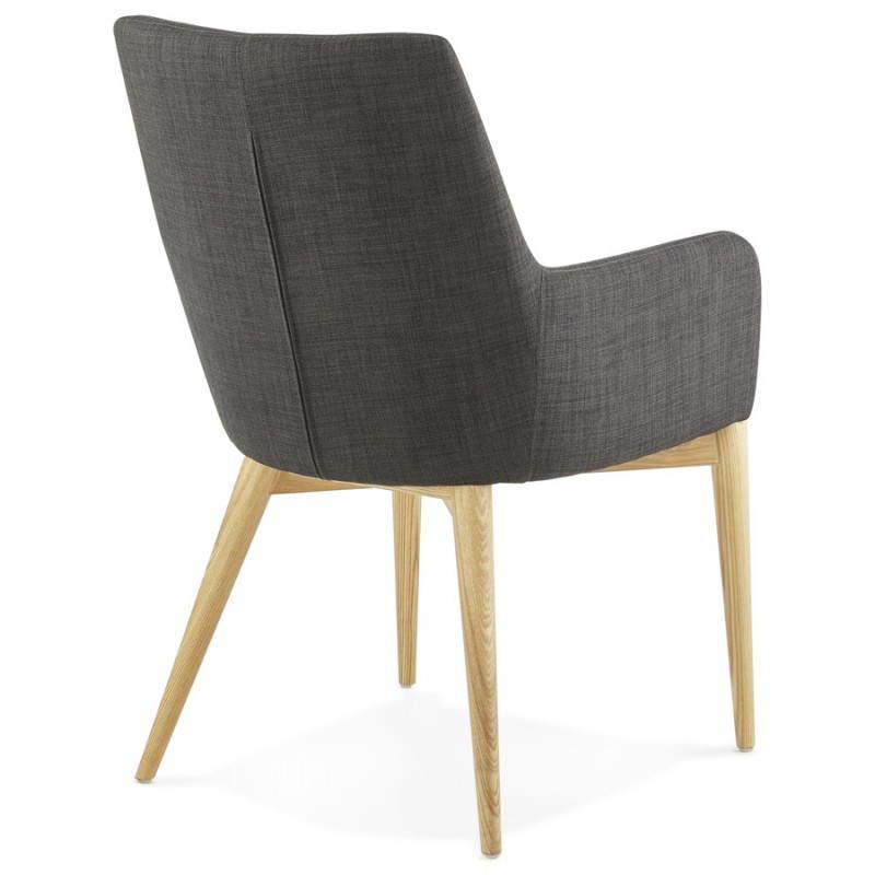 Fauteuil de style scandinave design BARBARA en tissu (gris foncé) - image 25041