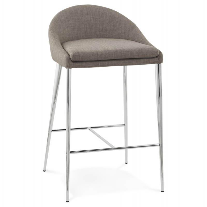 tabouret mi hauteur design linda en tissu gris. Black Bedroom Furniture Sets. Home Design Ideas