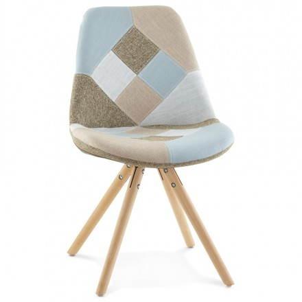 Chaise patchwork style scandinave BOHEME en tissu (bleu, gris, beige)