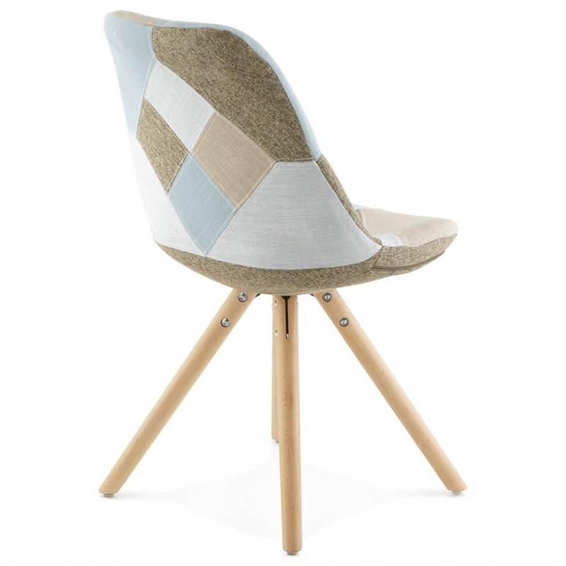Chair patchwork style Scandinavian BOHEMIAN fabric (blue, grey, beige) - image 25359