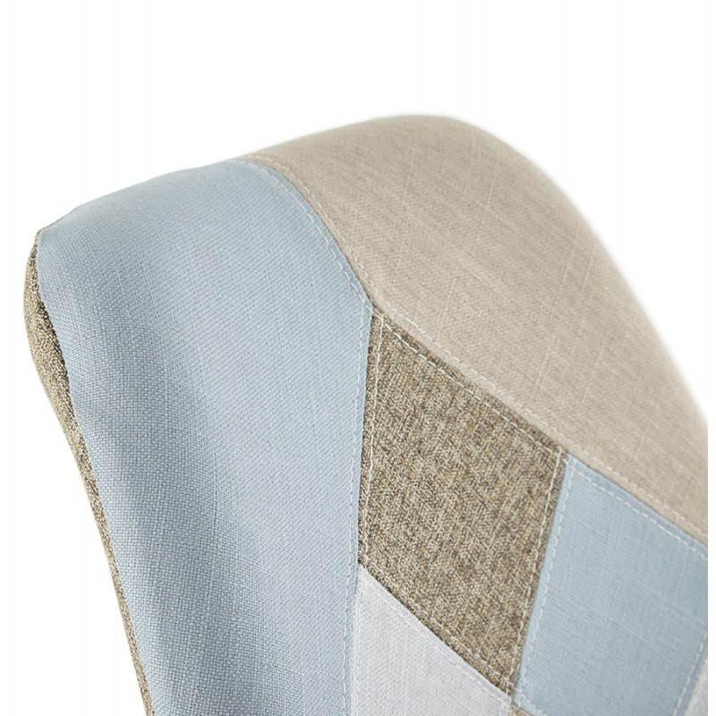 Chaise patchwork style scandinave BOHEME en tissu (bleu, gris, beige) - image 25361