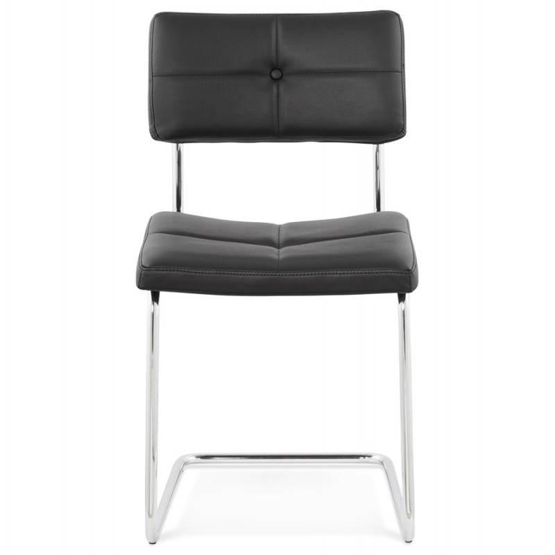Chaise design capitonnée BONOU en polyuréthane (noir) - image 25397