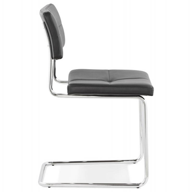 Chaise design capitonnée BONOU en polyuréthane (noir) - image 25398