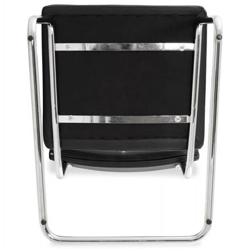 Chaise design capitonnée BONOU en polyuréthane (noir) - image 25408
