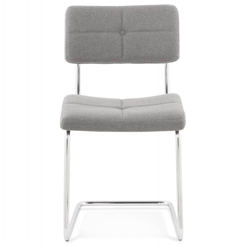 Chaise design capitonnée BONOU en tissu (gris clair) - image 25410