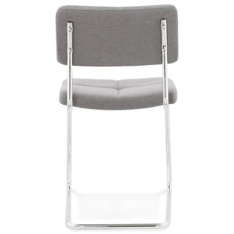 Chaise design capitonnée BONOU en tissu (gris clair) - image 25413