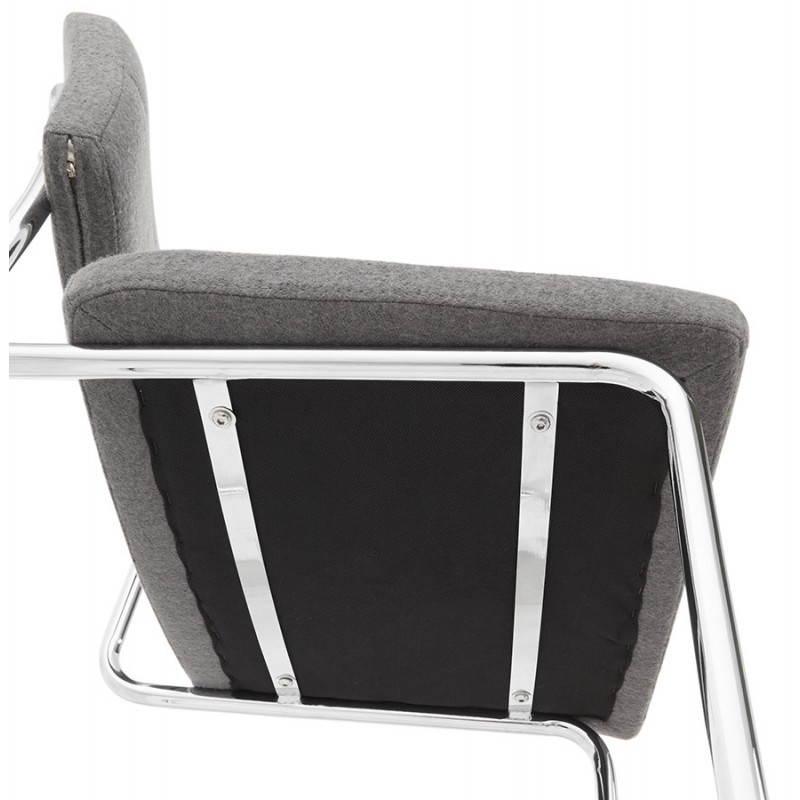 Chaise design capitonnée BONOU en tissu (gris clair) - image 25424