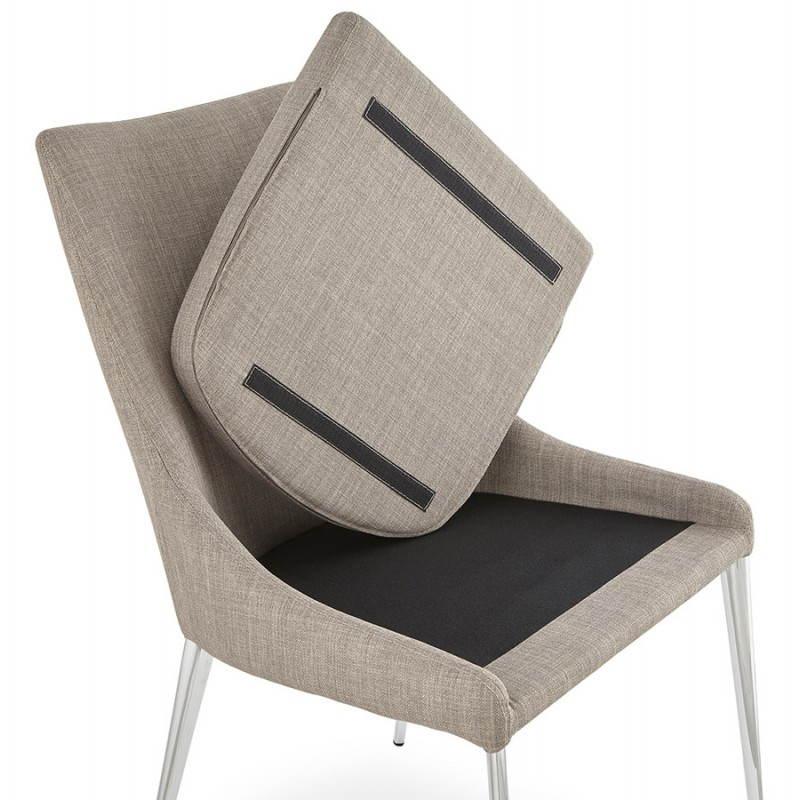 Chaise design rétro VALOU en tissu (gris) - image 25476