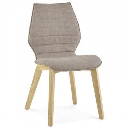 Sedia vintage stile scandinavo MARTY tessuto (grigio)