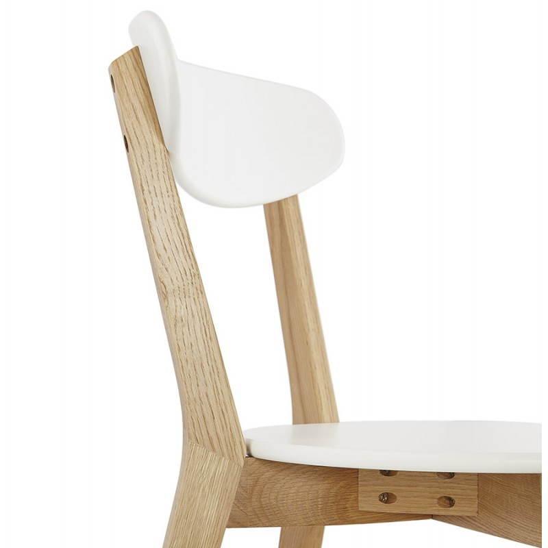 Design sedia stile legno scandinavo scandi bianco for Chaise en bois blanc
