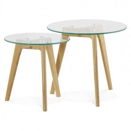 Tavolini design arte estraibile in vetro e rovere (trasparente)