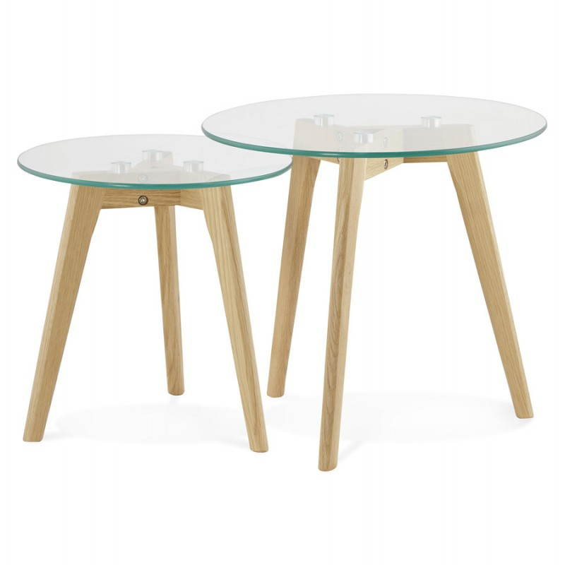 Tables basses design gigognes art en verre et ch ne massif transparent - Tables basses gigognes design ...