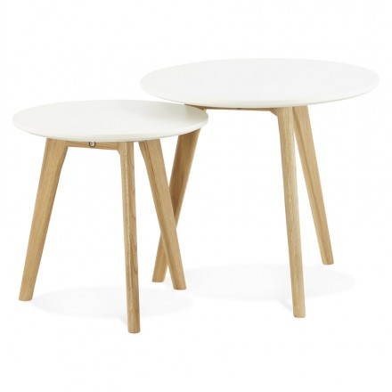 Coffee tables design pull-out ART in wood and oak (white)