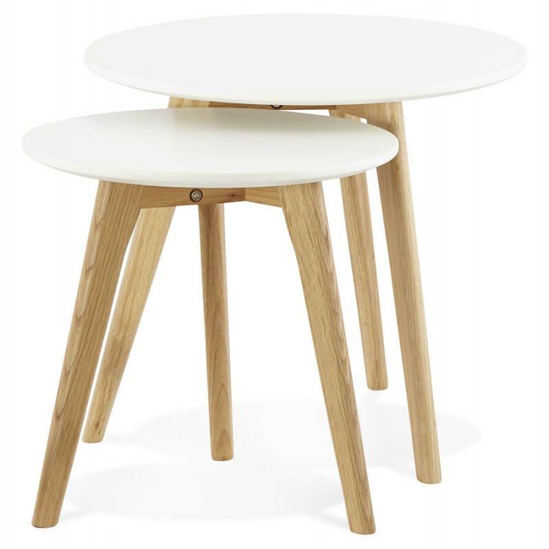 Tables basses design gigognes ART en bois et chêne massif (blanc) - image 25527