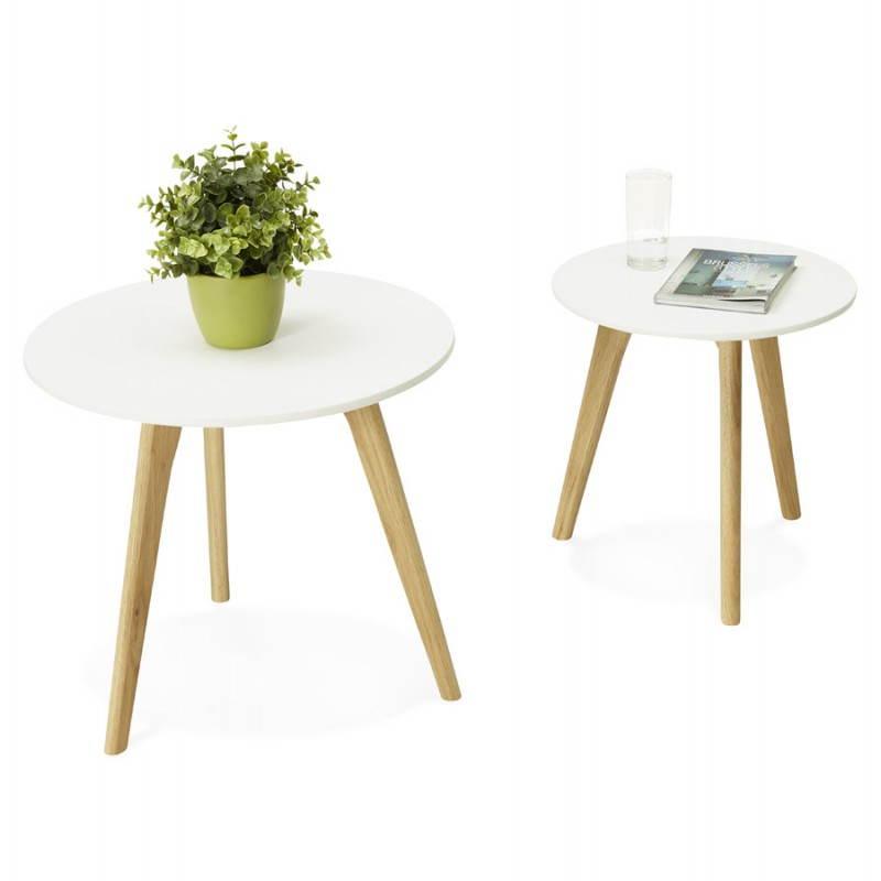 Tables basses design gigognes ART en bois et chêne massif (blanc) - image 25536