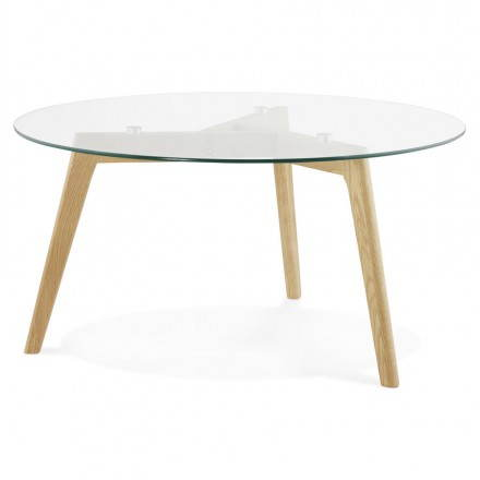 Coffee table style Scandinavian TAROT solid oak and glass