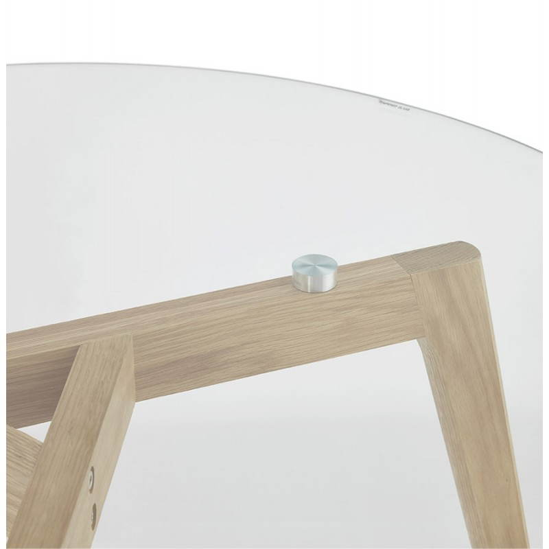 Coffee table style Scandinavian TAROT solid oak and glass - image 25542