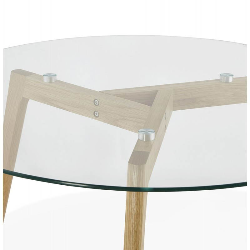 Coffee table style Scandinavian TAROT solid oak and glass - image 25544