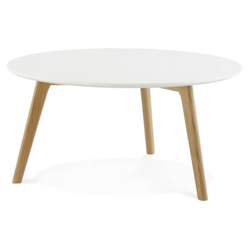 Table basse scandinave TAROT en bois et chêne massif (blanc) - image 25551