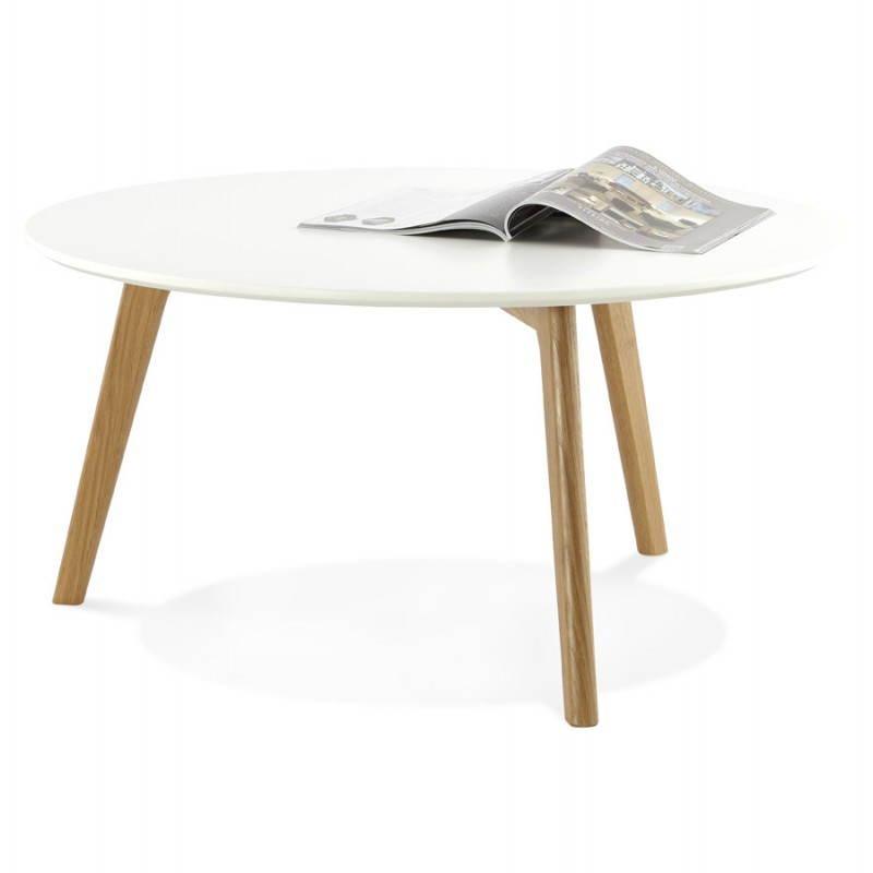 TAROT Scandinavian coffee table in wood and oak (white) - image 25552