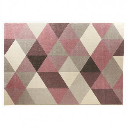 Carpet design rectangular Scandinavian style GEO (230cm X 160cm) (pink, grey, beige)