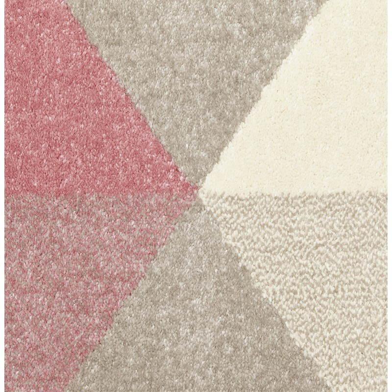 Tapis design style scandinave rectangulaire GEO (230cm X 160cm) (rose, gris, beige) - image 25566
