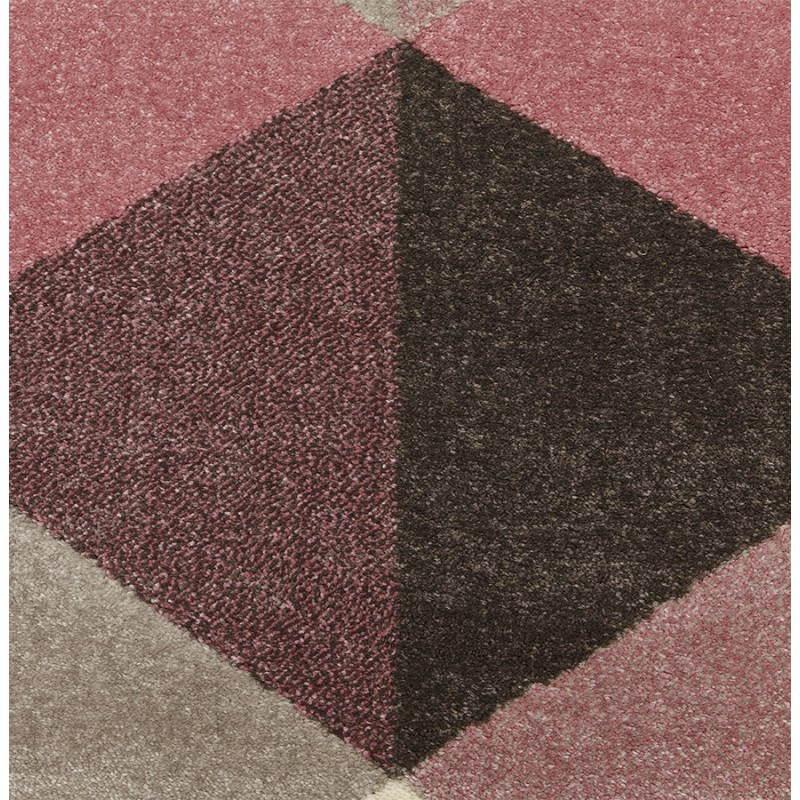 Tapis design style scandinave rectangulaire GEO (230cm X 160cm) (rose, gris, beige) - image 25567