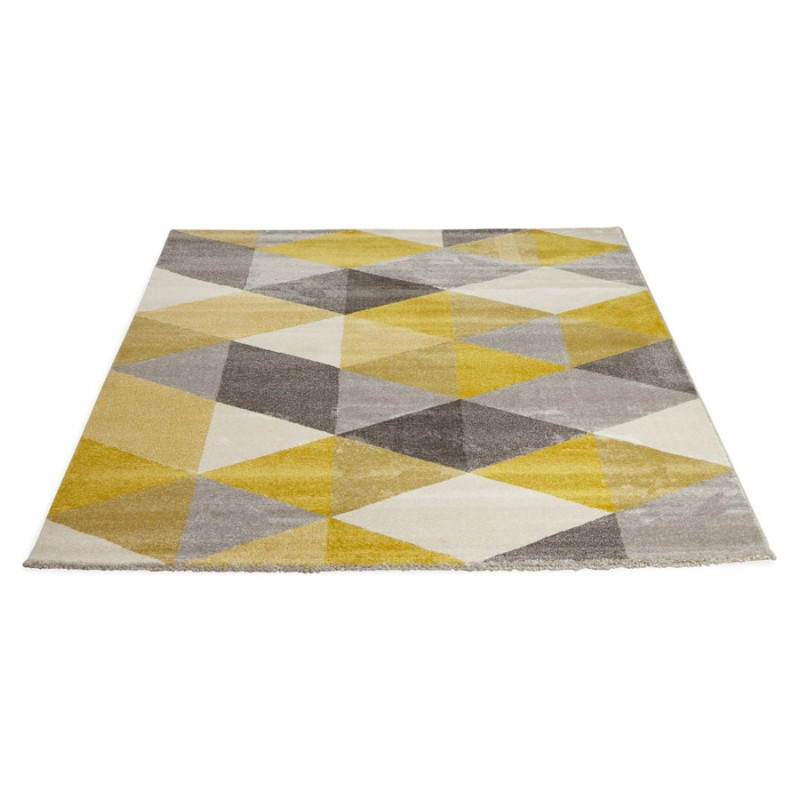 Carpet design rectangular Scandinavian style GEO (230cm X 160cm) (yellow, grey, beige) - image 25585