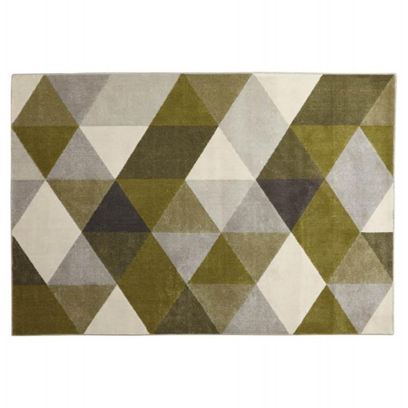 Tapis design style scandinave rectangulaire GEO (230cm X 160cm) (vert, gris, beige) - image 25711