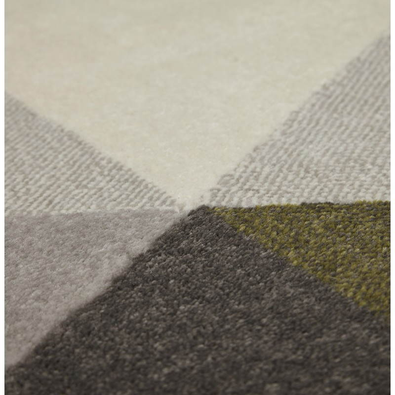 Tapis design style scandinave rectangulaire GEO (230cm X 160cm) (vert, gris, beige) - image 25719