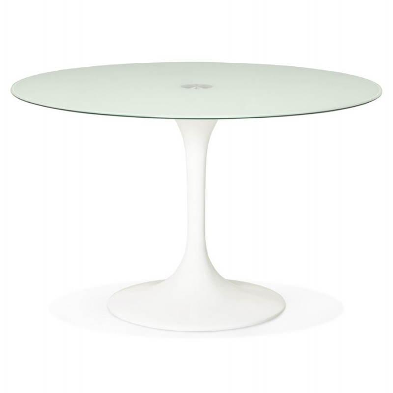 Design Esstisch Runde MANGO (weiß) temperiert Gläser (Ø 120 cm)