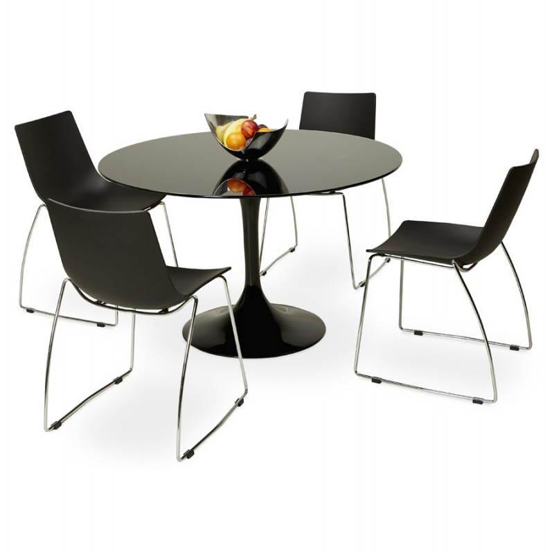 Table à Manger Design Ronde Mangue En Verre Trempé ø 120 Cm Noir