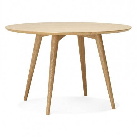 Dining table style scandinavian round pony 120 cm wooden for Scandinavische cocktail