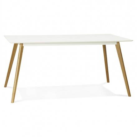 Dining table style Scandinavian rectangular barley (white) wood