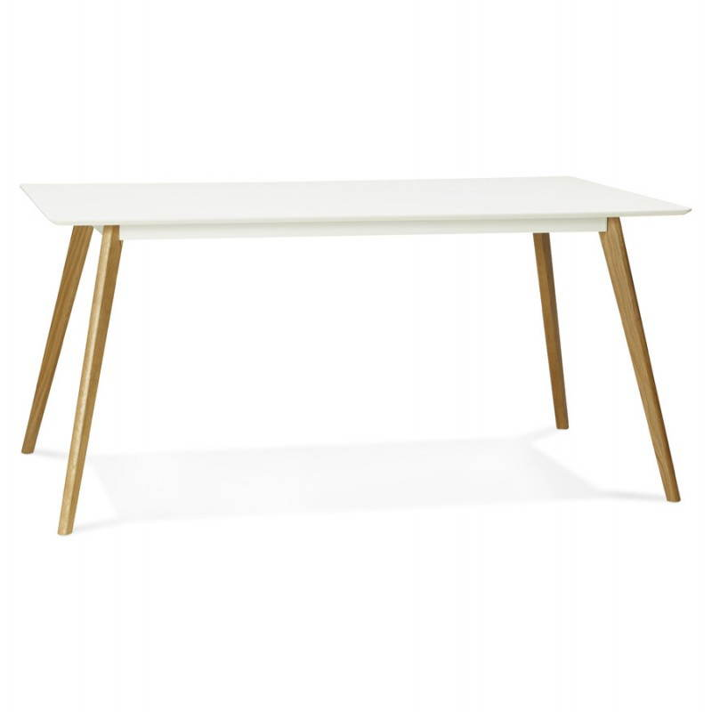 table manger style scandinave rectangulaire orge en bois 160cmx90cmx75cm blanc. Black Bedroom Furniture Sets. Home Design Ideas