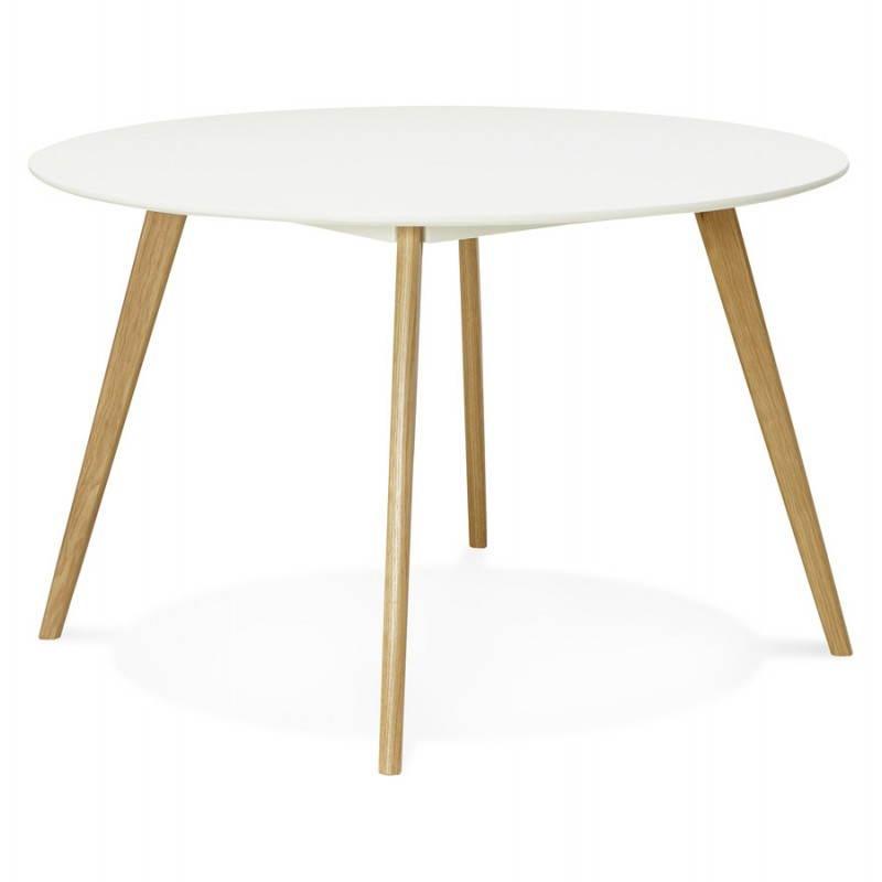 Table à manger style scandinave ronde MILLET en bois (Ø 120 cm) (blanc) - image 25766