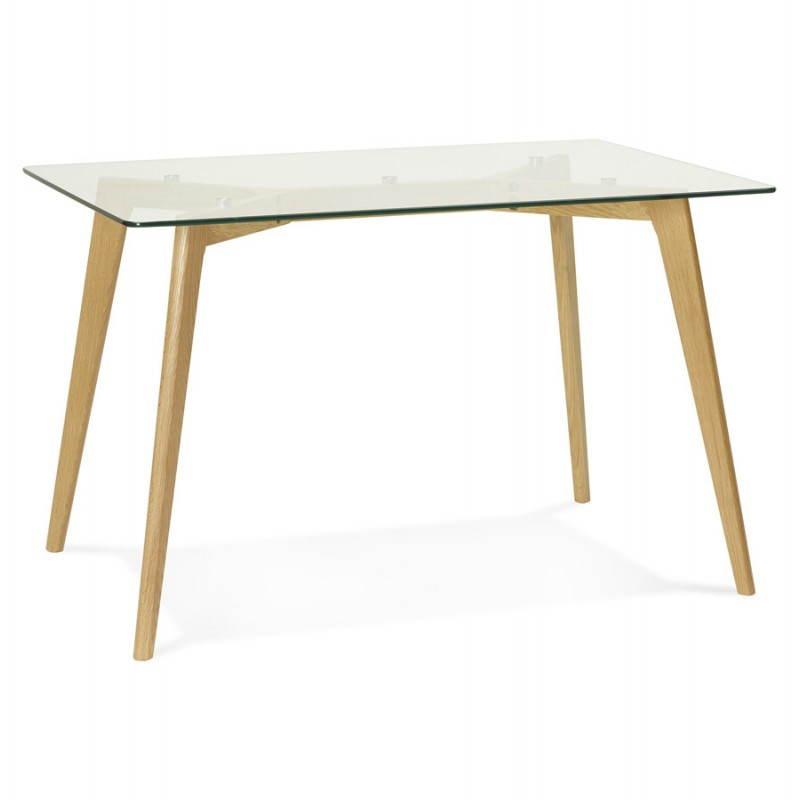Table à manger style scandinave rectangulaire VARIN en verre (120cmX80cmX75cm) - image 25775