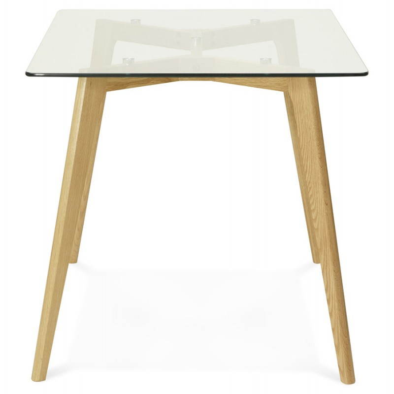 Table manger style scandinave rectangulaire varin en verre 120cmx80cmx75cm - Table en verre rectangulaire ...