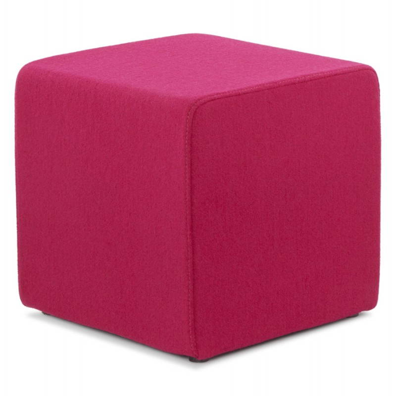 Pouf carré BARILLA en tissu (fushia) - image 25792
