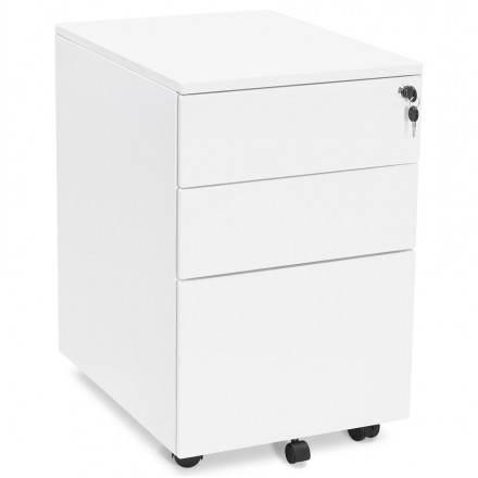 Subwoofer design desk 3 drawers MATHIAS (white) metal