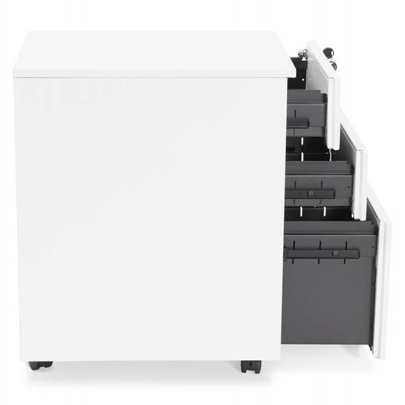 Caisson de bureau design 3 tiroirs MATHIAS en métal (blanc) - image 25935