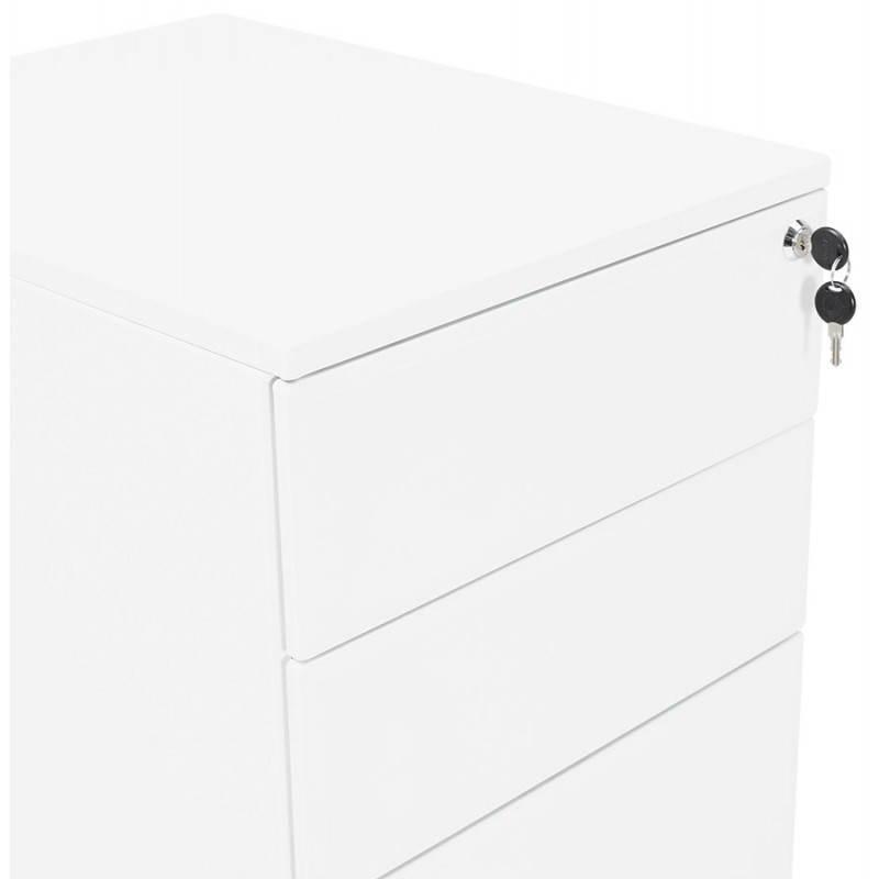 Caisson de bureau design 3 tiroirs MATHIAS en métal (blanc) - image 25937