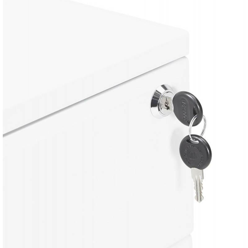 Caisson de bureau design 3 tiroirs MATHIAS en métal (blanc) - image 25938