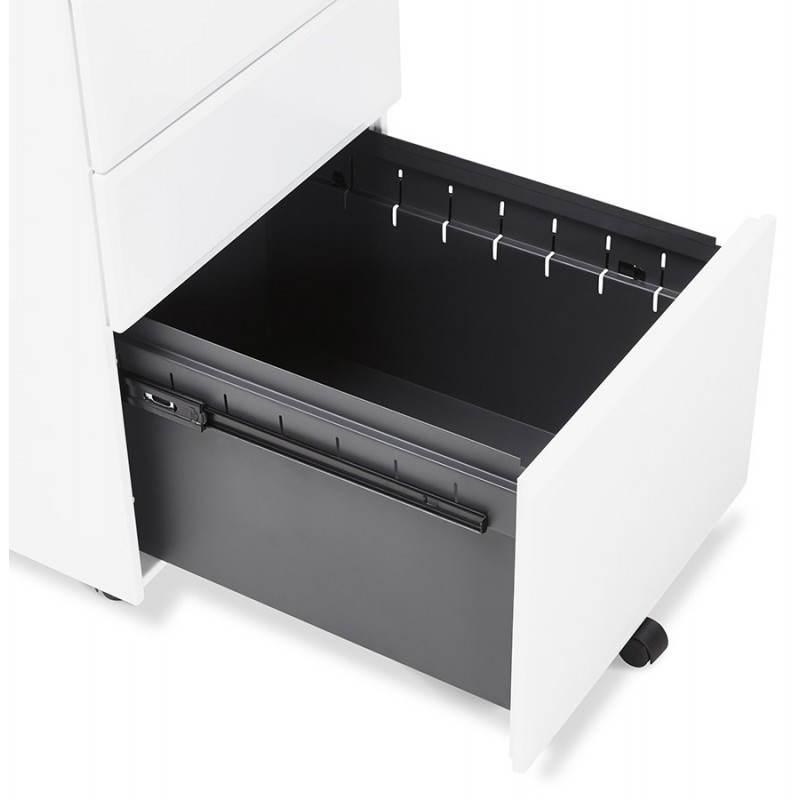 Caisson de bureau design 3 tiroirs mathias en m tal blanc - Caisson bureau 3 tiroirs ...