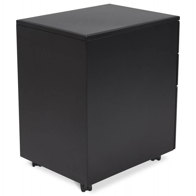 Caisson de bureau design 3 tiroirs mathias en m tal noir - Caisson bureau design ...