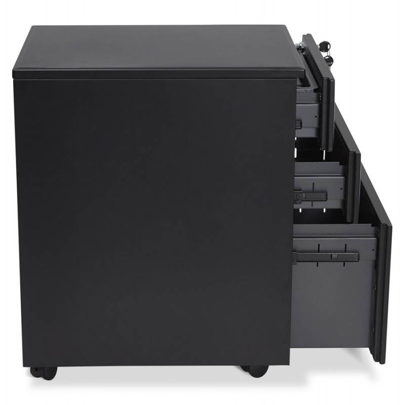 Subwoofer design desk 3 drawers MATHIAS (black) metal - image 25952