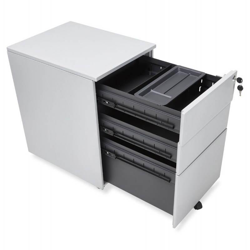 Caisson de bureau design 3 tiroirs MATHIAS en métal (gris) - image 25970