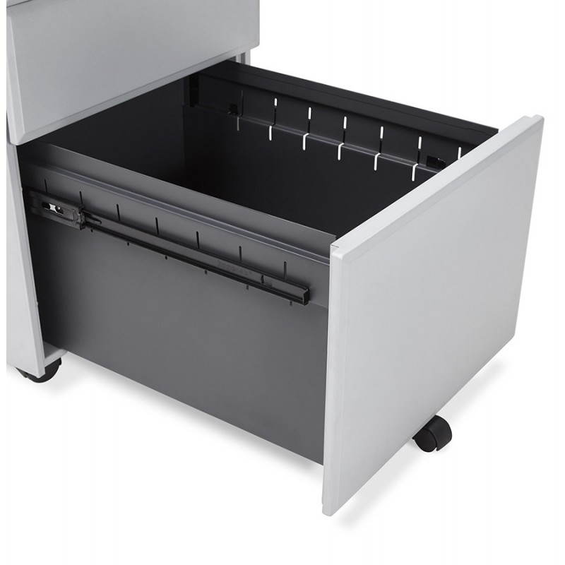 Caisson de bureau design 3 tiroirs mathias en m tal gris - Caisson bureau design ...
