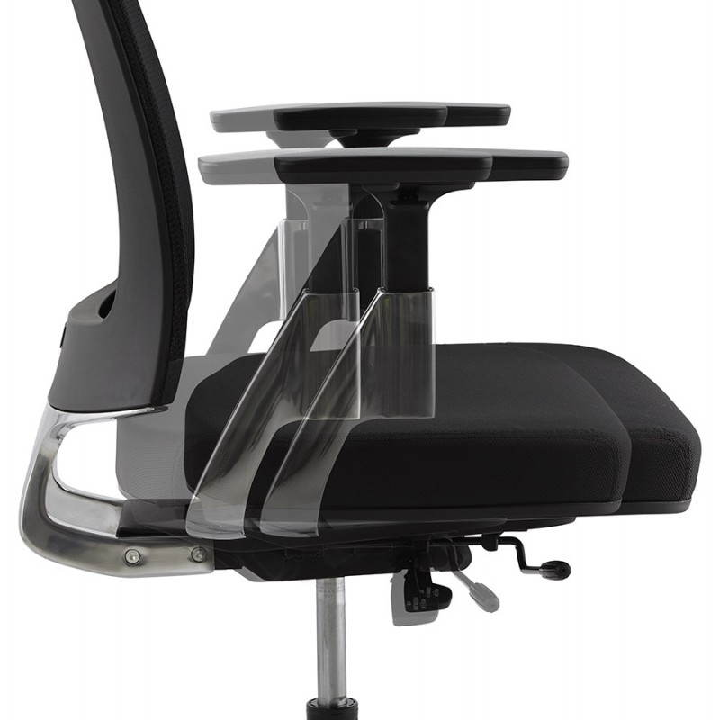 fauteuil de bureau ergonomique leo en tissu noir. Black Bedroom Furniture Sets. Home Design Ideas